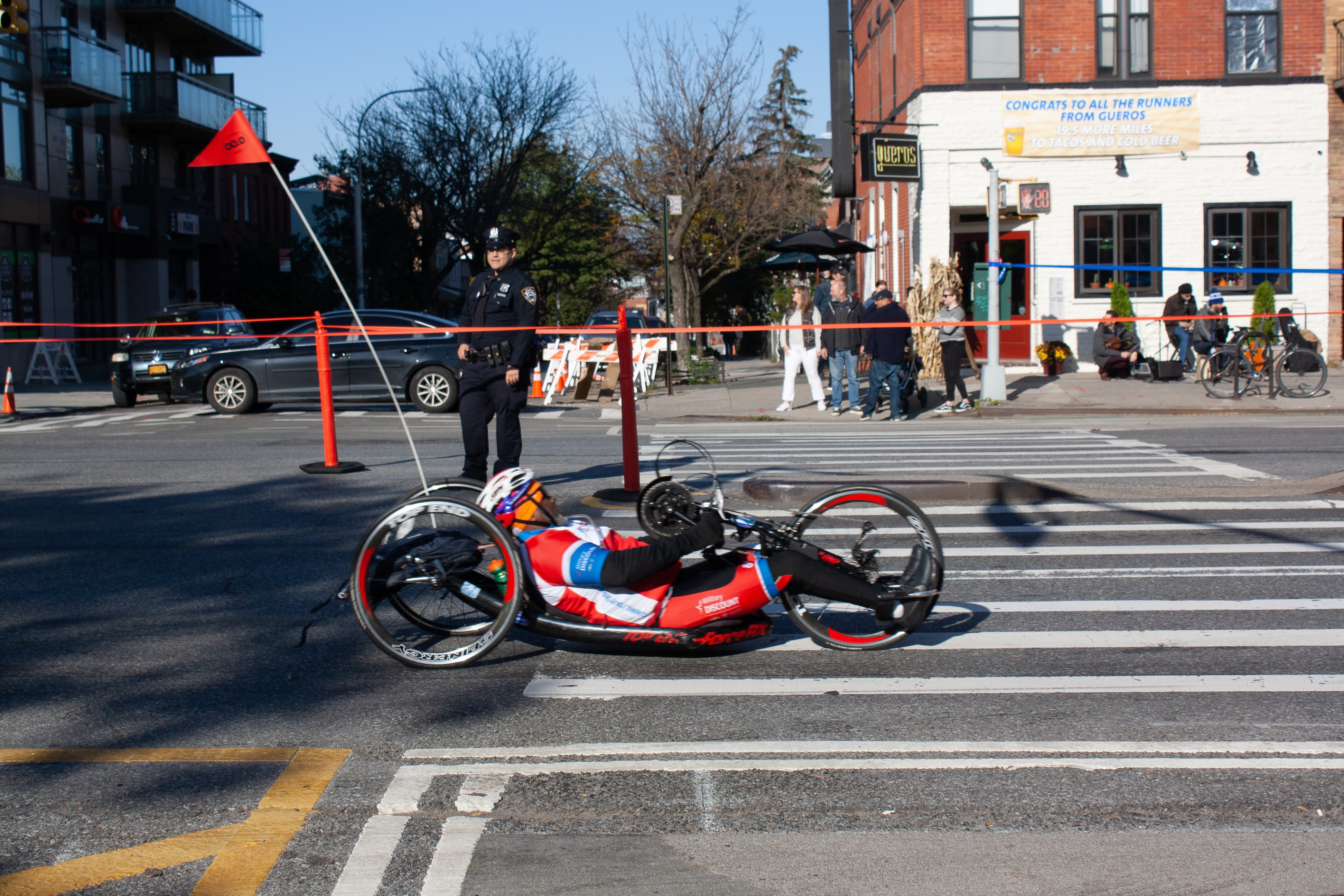 A racing wheelchair marathoner at mile 7 in Park Slope, Brooklyn.(Sophie Putka/NYCity News Service)
