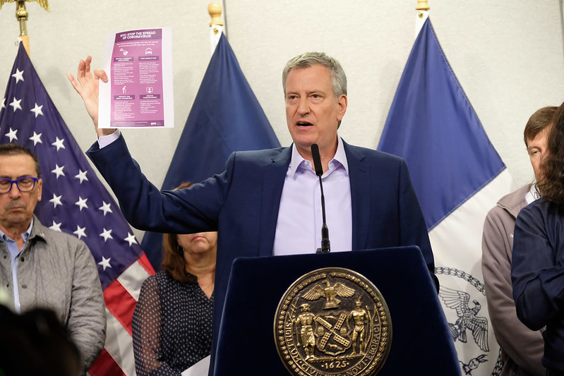 Mayor De Blasio Updates the City as Residents Reel from Coronavirus Fears and Closures
