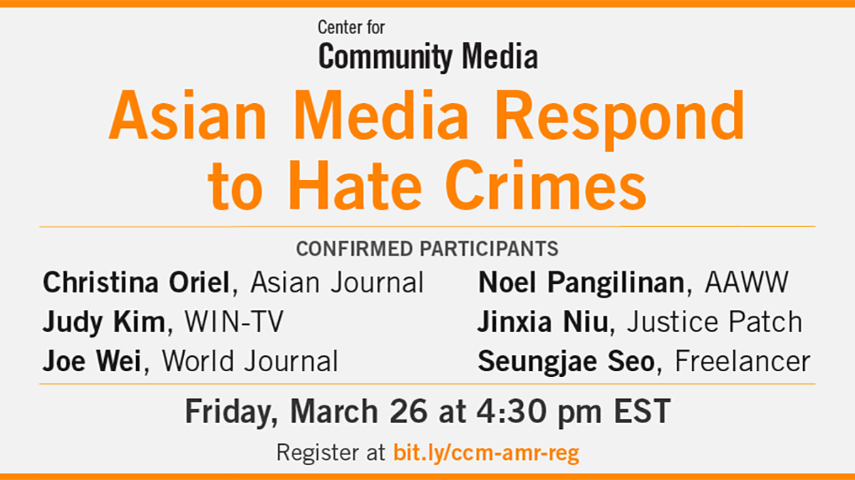 Announcement of Town Hall: Asian Media Respond to Hate Crimes, listing participants, date and time.