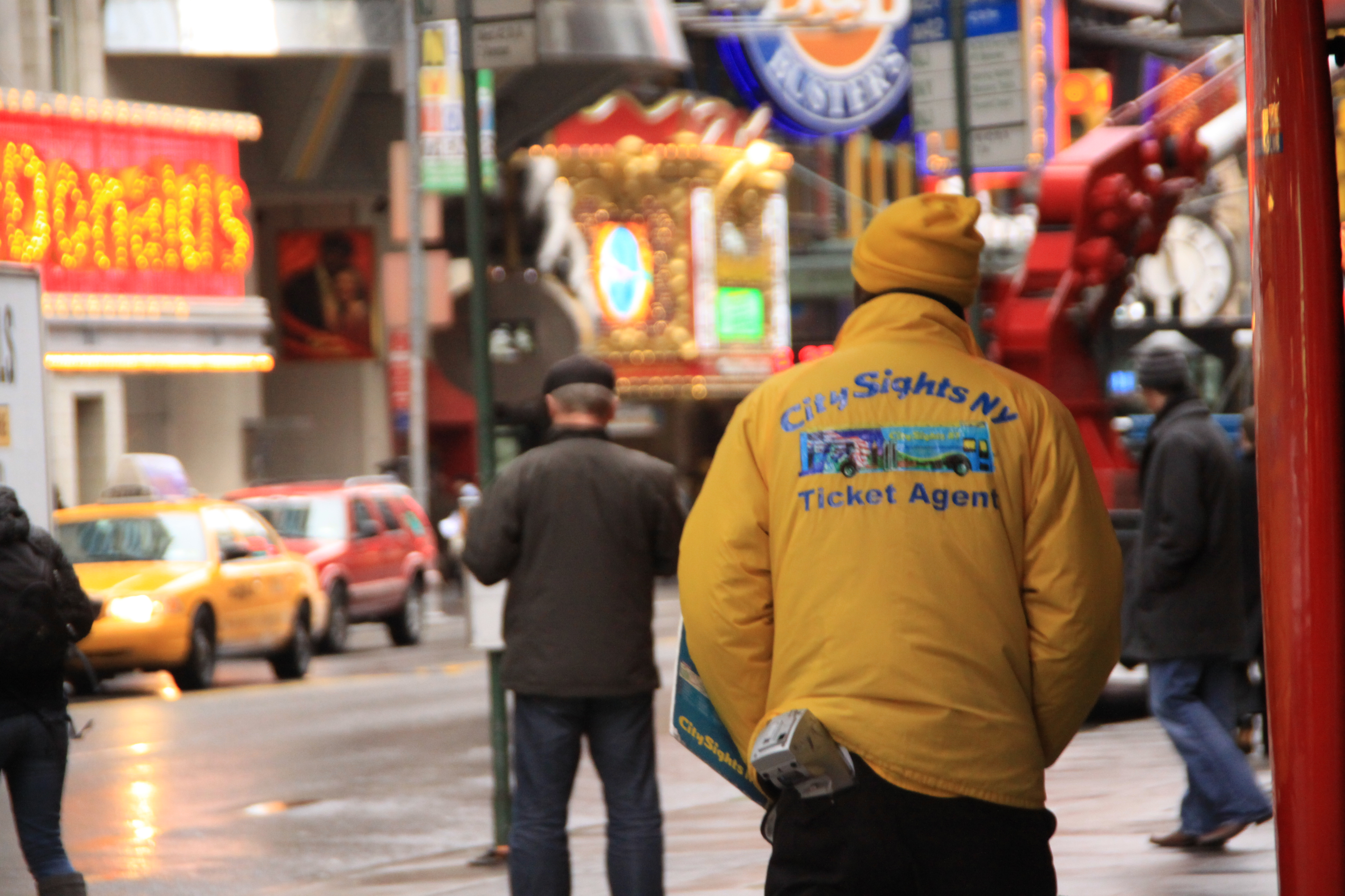 Ticket man was looking for tourists on streets in Times Square