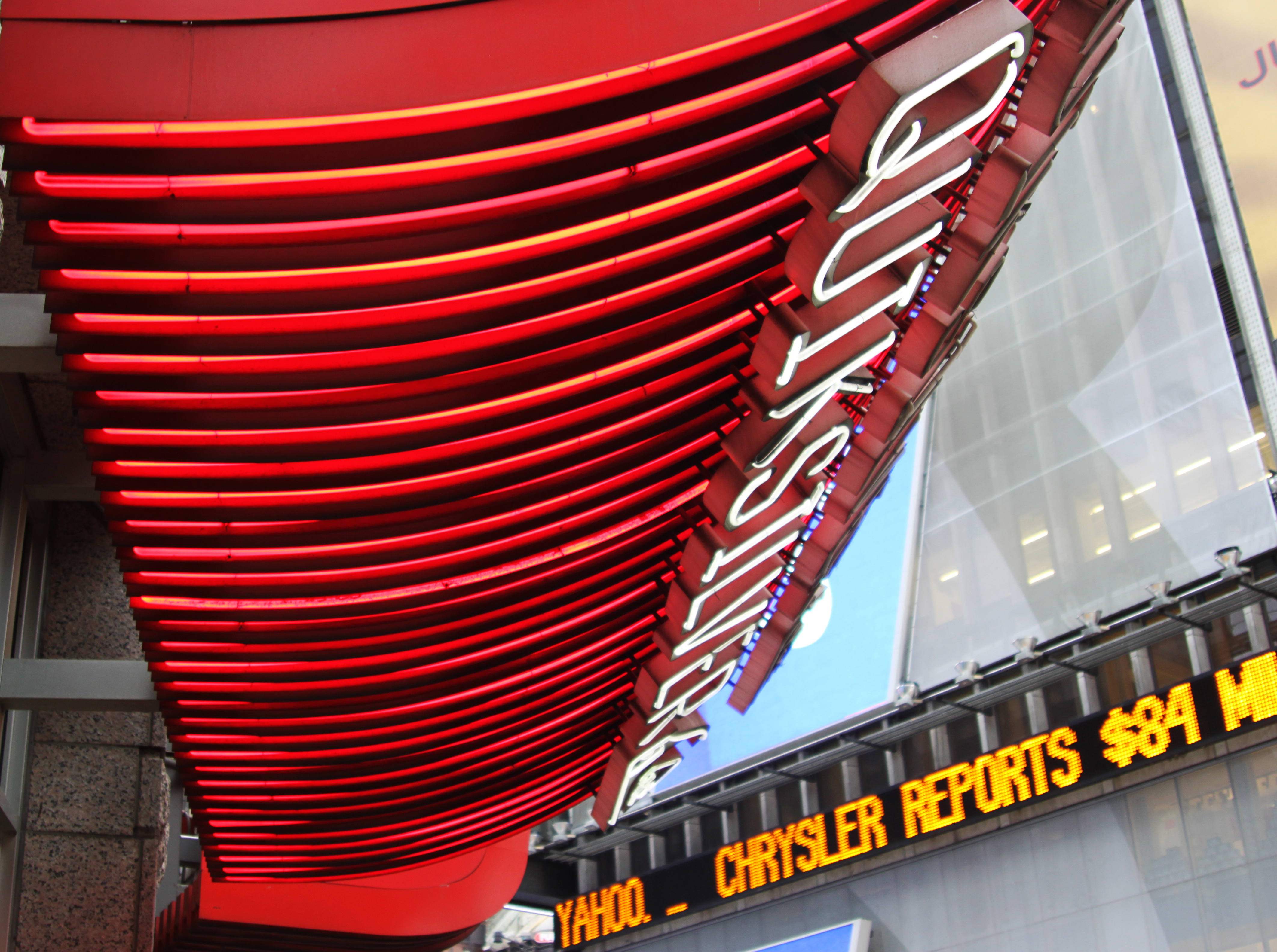 Signs converge on 7th Avenue in Times Square