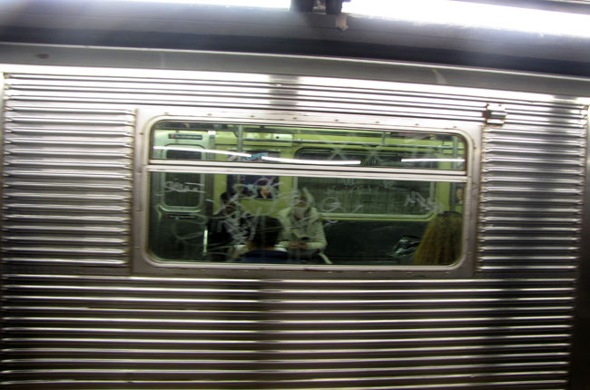 """It isn't pretty to look at, it's decrepit,"" said Theresa Vouclais, a daily C Train rider. (Nicholas Rizzi/CUNY)"