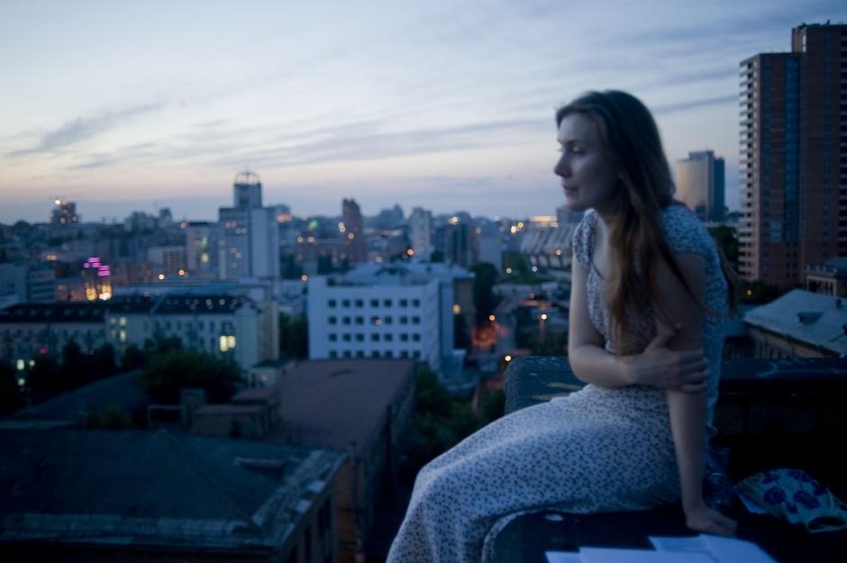 Tetiana on the roof in Pecherski