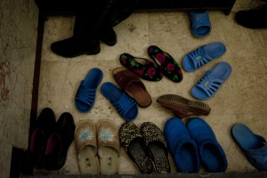 Shoes outside the entry to the women's section of the Lala Tulpan mosque.
