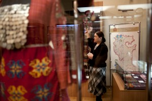 Our tour guide explains indigenous clothing at the museum of ethnology.