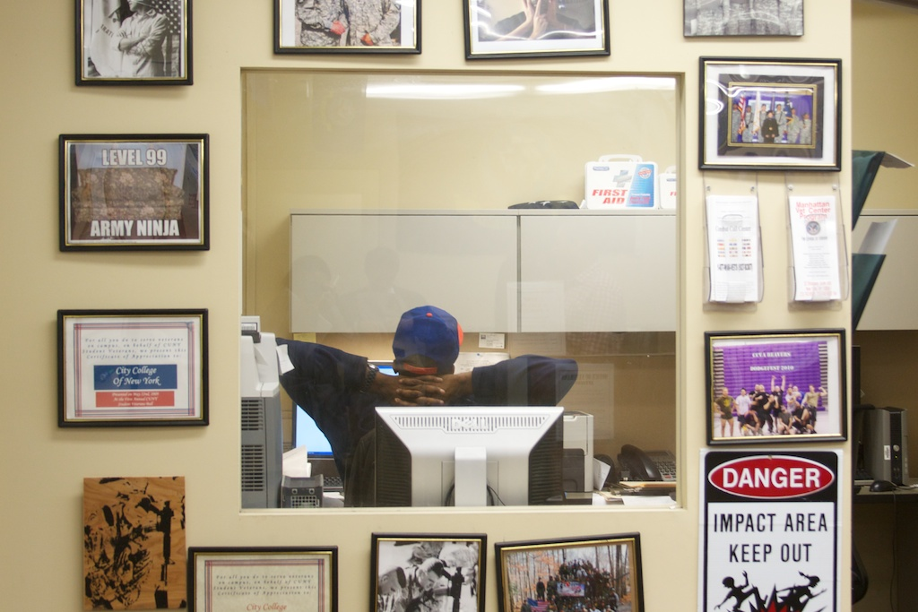 Every wall of the Veterans' Affairs office at the City College of New York is covered in posters and military memorabilia.