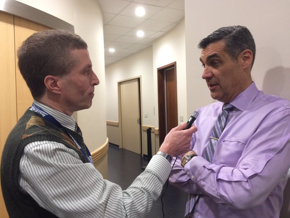 Interviewing two-time national champion coach Jay Wright of Villanova.