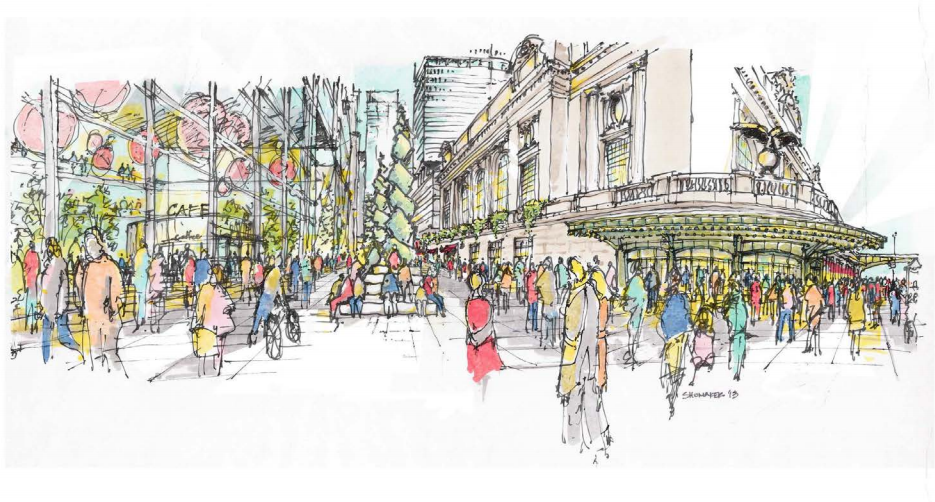 An artist's rendering of public realm improvements to Vanderbilt Avenue as part of the East Midtown Rezoning. Image from the Department of City Planning.