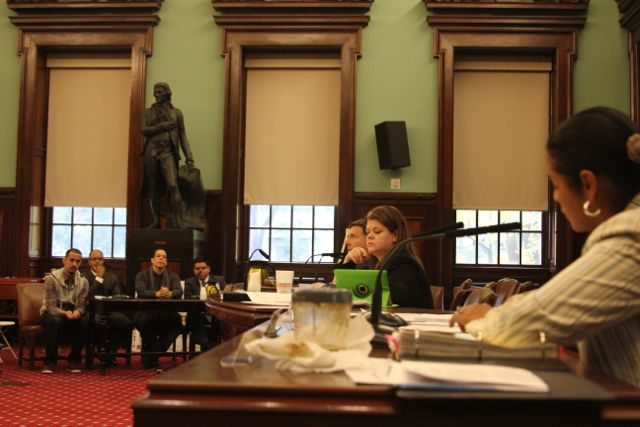 Councilwoman Diana Reyna asks questions to representatives from Churches United for Fair Housing, the Rheingold Homeowners and Make the Road New York, all of whom currently oppose the Rheingold proposal, during the hearing Tuesday morning.  (photo by Tobias Salinger)