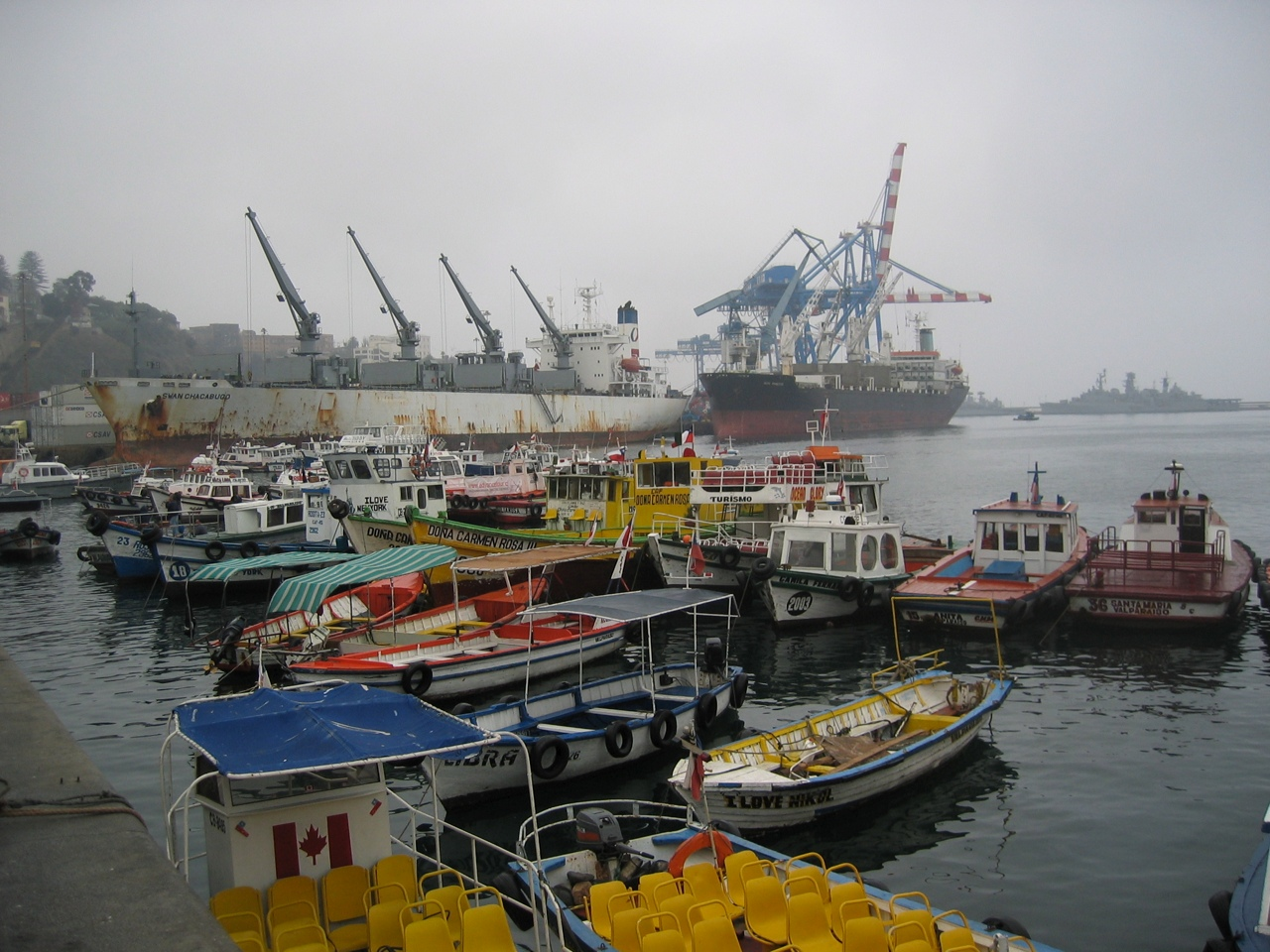 ships docked in a port