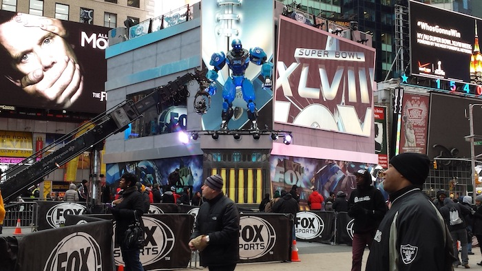 """Cleatus,"" the Fox Sports robot in the Super Bowl Boulevard in Times Square."