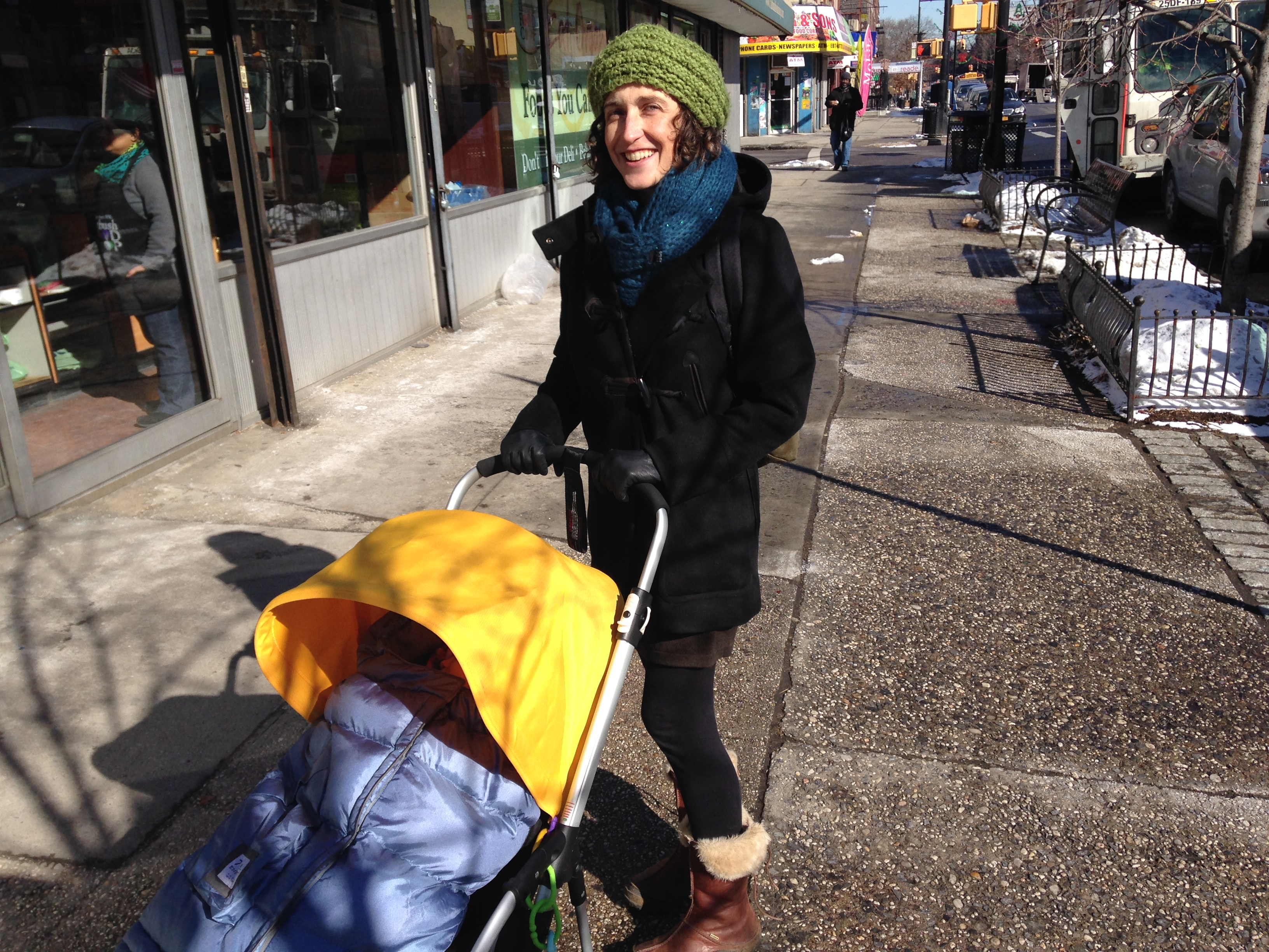 Stacey Greene takes her baby out for a stroll on a freezing day in Ditmas Park.
