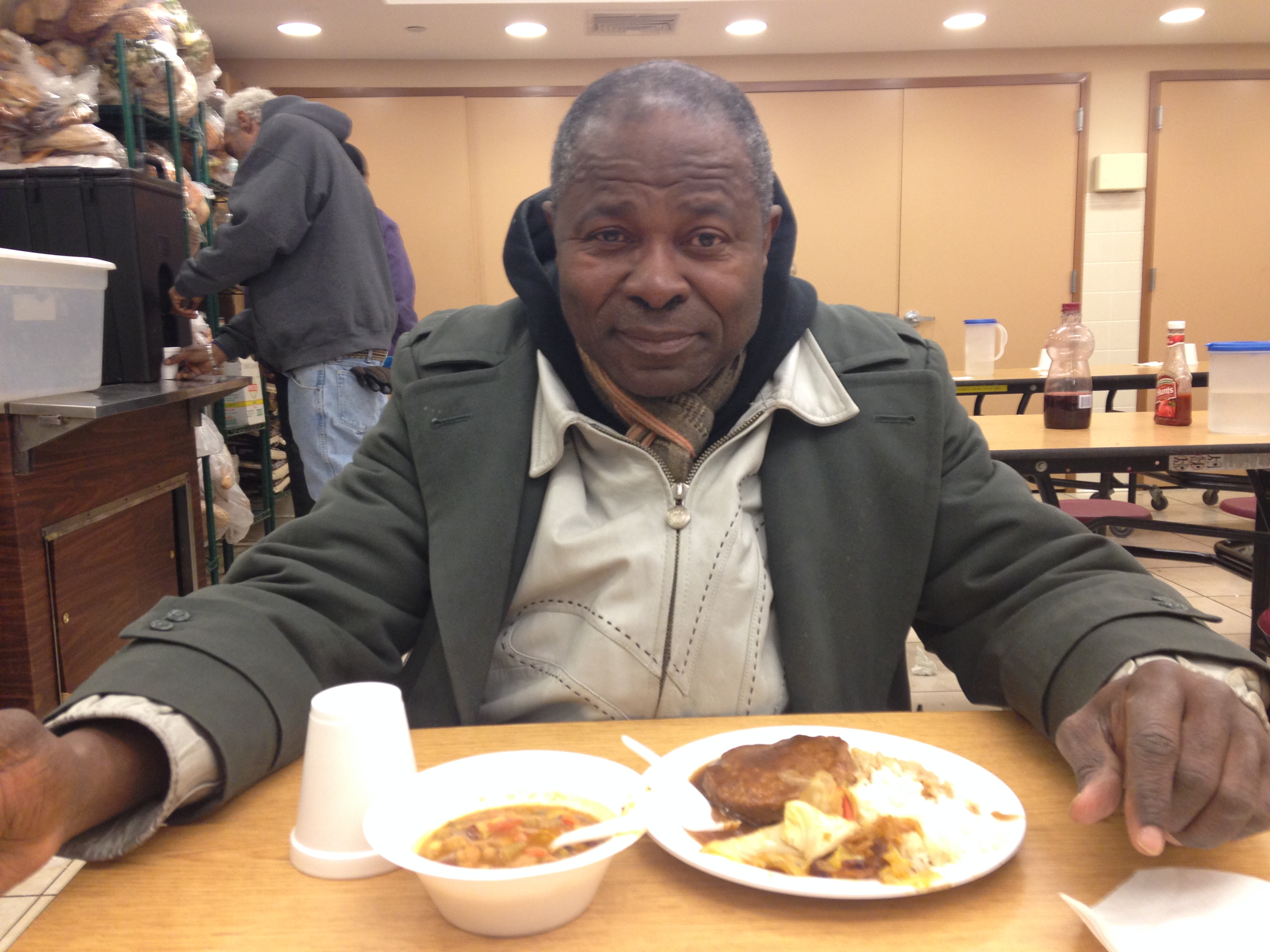 Joseph Diaby eats a hot meal at the New York City Rescue Mission in Manhattan on Jan. 29.