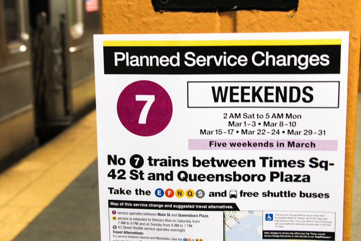 Starting this March, for 22 weekends until July, 7 Line  will be cut between Manhattan and Queens for construction. The MTA's decision not to provide shuttle service between the two boroughs may impact Long Island City businesses.
