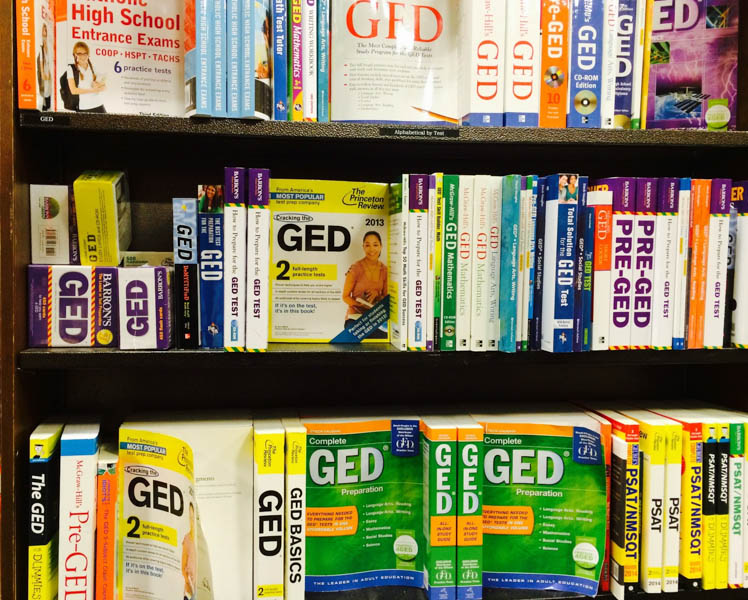 "At most Barnes and Noble sites in the city, prep books for the old GED are still being sold. Books for the TASC are sold online, or ""print by demand."""