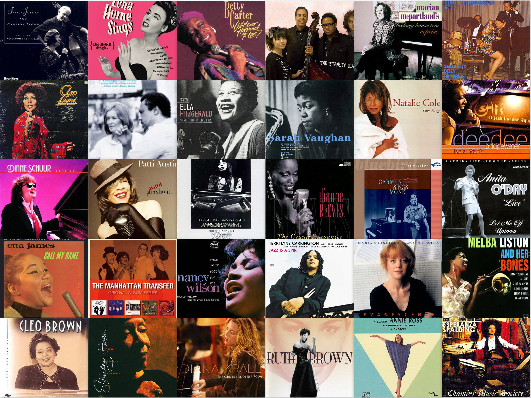 Collage of jazz albums by female Grammy Award winners and NEA Jazz Masters honorees