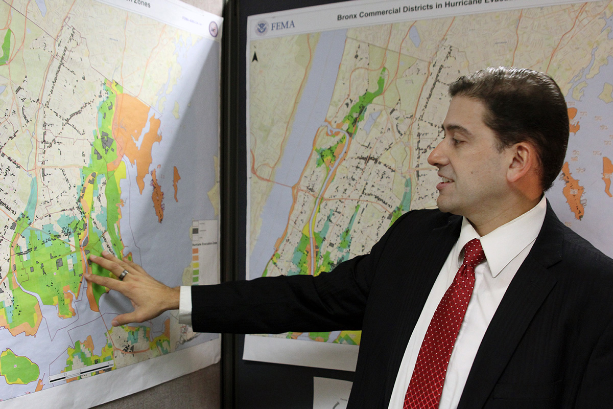 Fernando Tirado, disaster recovery advisor at the Bronx Small Business Development Center, explains how City Island and other commercial areas in the borough were affected by Superstorm Sandy in 2012.