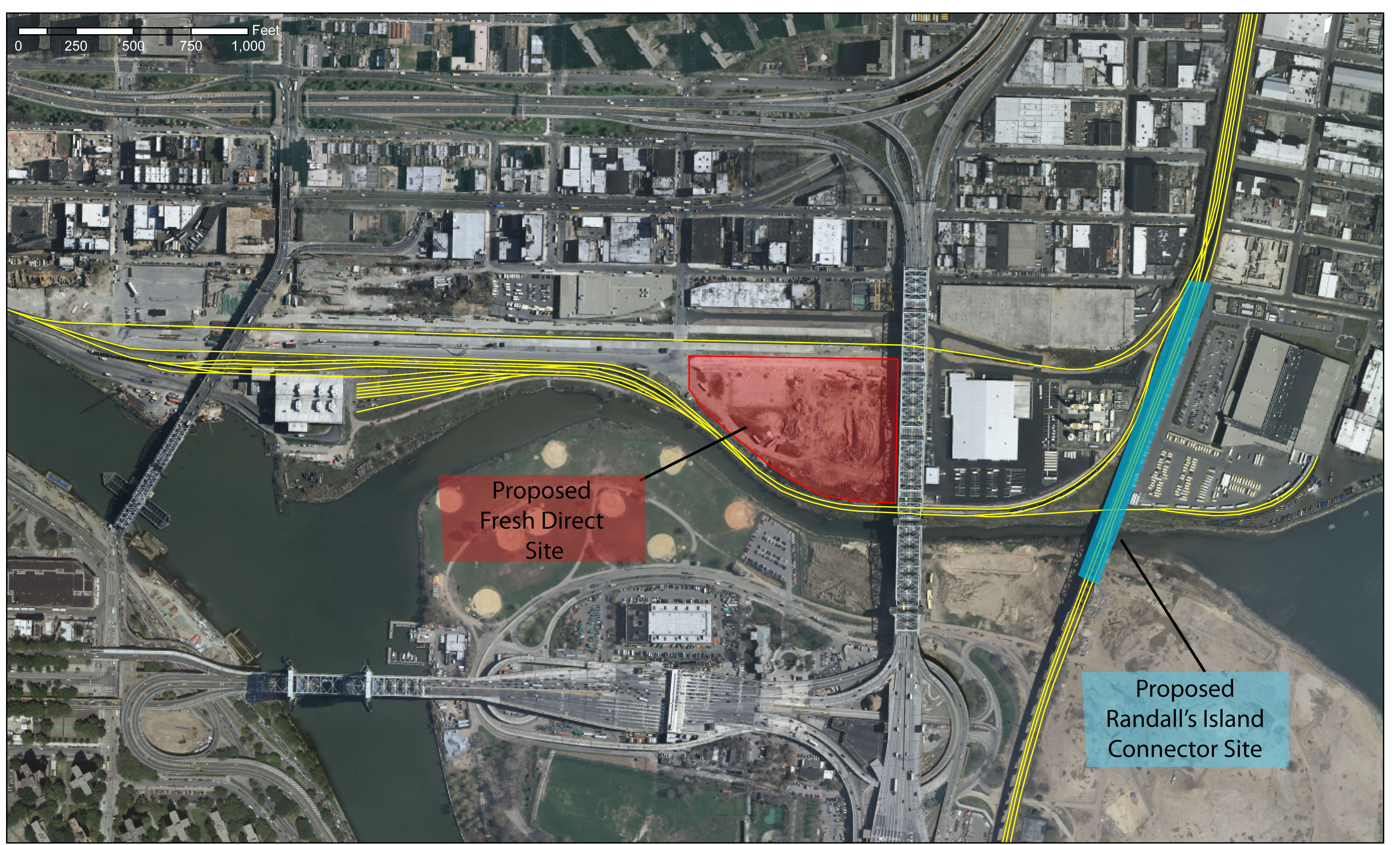 This satellite image supplied by the city's Economic Develpment Corporation shows the location of the Randall's Island Connector in relation to FreshDirect's site.