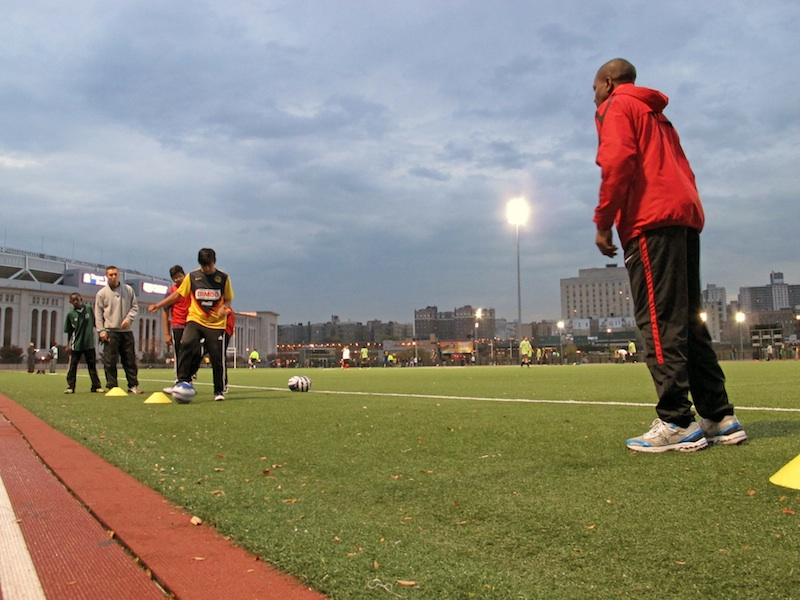 A South Bronx United practice at Macombs Dam Field.