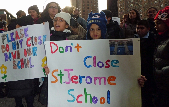 Students, their parents and school administrators rallied to save St. Jerome School on Dec. 12 in Mott Haven.