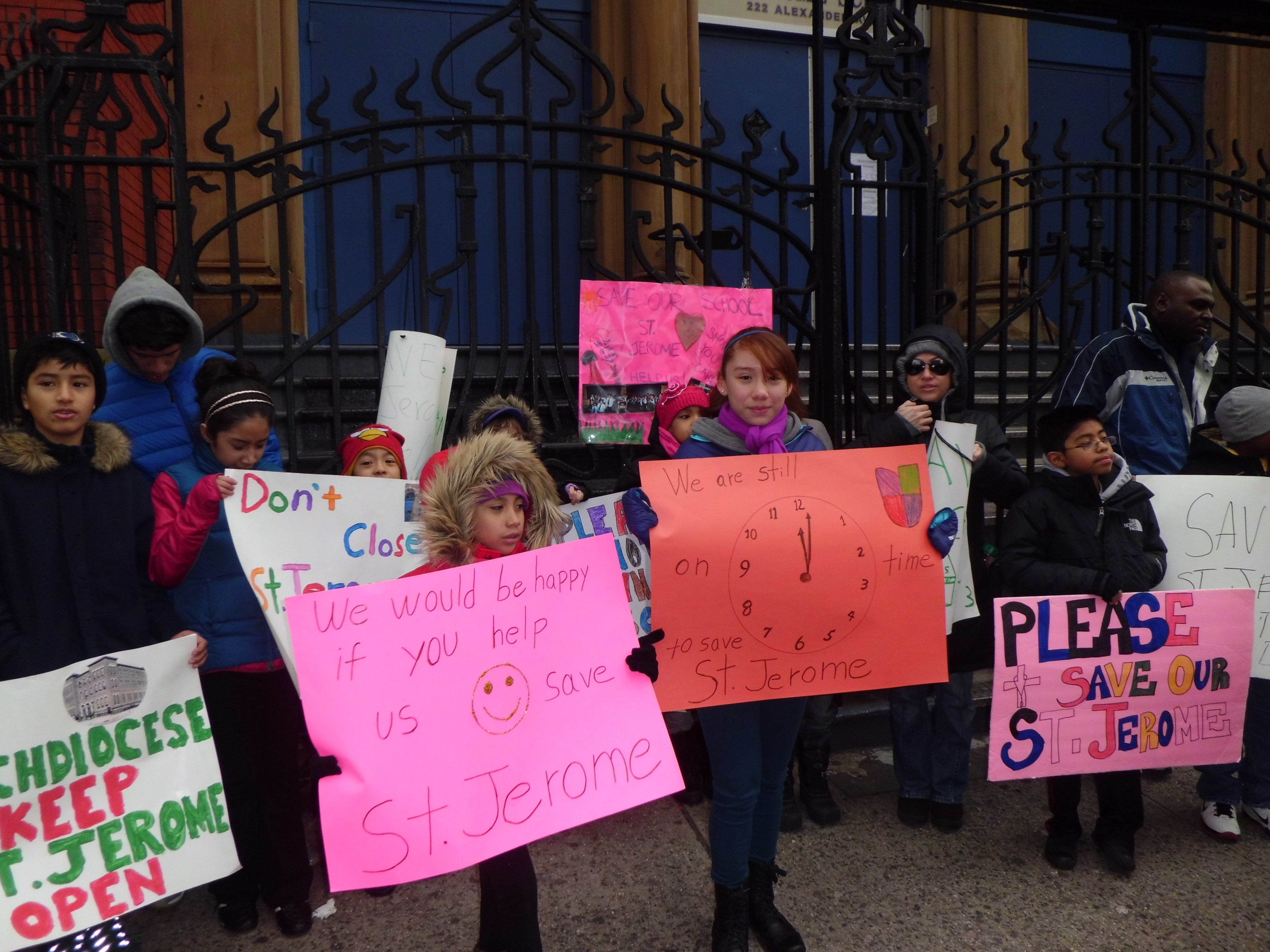Students in front of St. Jerome on Jan. 21 urged the Archdiocese of New York not to close the Catholic School.