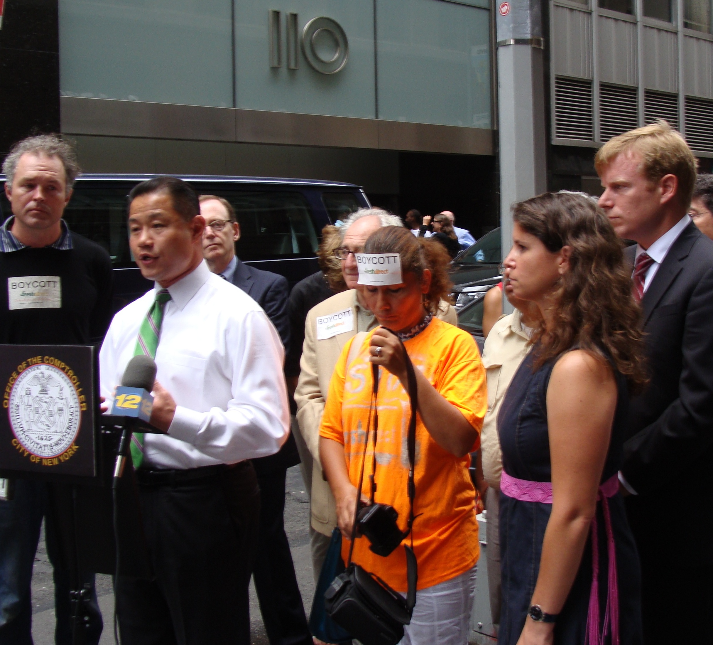 Comptroller John Liu addressed protesters downtown after the city approved a subsidies package for FreshDirect.