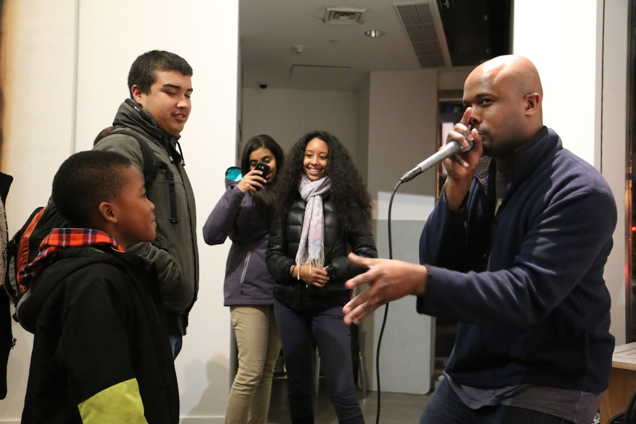 Chesney Snow, executive producer of 'American Beatboxer,' performs at the film's screening at the Bronx Museum of the Arts, on Dec. 12.