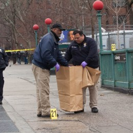 Police from the 40th Precinct collect evidence near 138 St. following a Jan. 9 fracas.