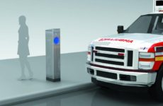 A rendering of a new electric charging post. Drawing by Move Systems