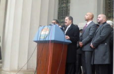 Rep. Jose E. Serrano, Bronx Borough President Ruben Diaz Jr. and City Councilman Rafael Salamanca on the steps of the State Supreme Court building on the Grand Concourse on Jan. 26. Photo: Joe Hirsch