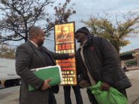 Patrick Delices is street campaigning at the Hunts Point Ave. 6 train last Wednesday.