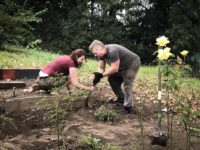 Port Morris residents Wren Patton (left) and Maxim Tumenev are softening soil in the Maria Sola Green Space. Photo: Scarlett Kuang