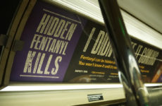 An advertisement on the subway warns the public about illegal drugs laced with fentanyl. Photo: Kalah Siegel