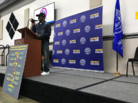 Randy Dillard shared his experiences in Bronx housing court at a town hall at Monroe College this month to spread awareness about Right to Council, a bill funding council for low-income tenants facing eviction. Photo: Anna Brooks