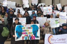 Adult literacy students rally at the Bronx County Courthouse rallied to denounce Photo by Joe Hirsch
