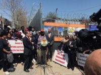 Jackson Houses tenant leader Danny Barber, flanked by Rep. Jose E. Serrano (left) and Bronx Borough President Ruben Diaz Jr. (right) and protesters, at an anti-jail rally in Mott Haven on May 1. Photo: Joe Hirsch
