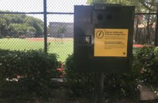A new syringe disposal box at Patterson Playground. Photo by Vanessa
