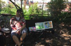 Artist Angel Martel at Brook Park on Aug. 4.