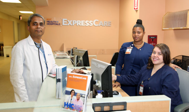 """Dr. """"Siva"""" Naryarnan is one of three physicians at the Express Care Clinic, with Patient Care Associates Shironne Rosas and Kellen Lacayo."""