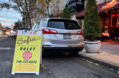 Valet parking sign blocks a spot outside restaurant in Bay Ridge, Brooklyn