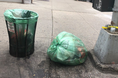 Street corner trash on 86th Street in Bensonhurst.