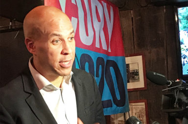 Cory Booker speaks at Brother Jimmy's BBQ in Kips Bay section of Manhattan