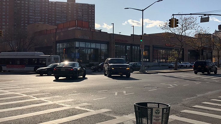 Traffic at the intersection of Neptune Avenue and West Fifth Street in Coney Island