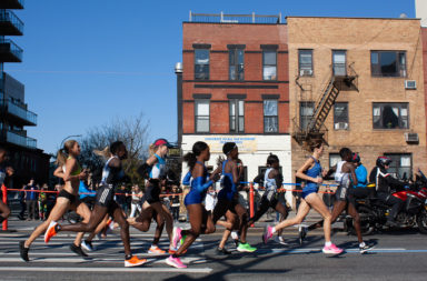 New York City Marathon runners in Park Slope, Brooklyn,