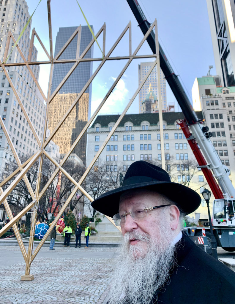 Rabbi Shmuel Butman, who oversaw the assembly of the menorah outside the Plaza Hotel.