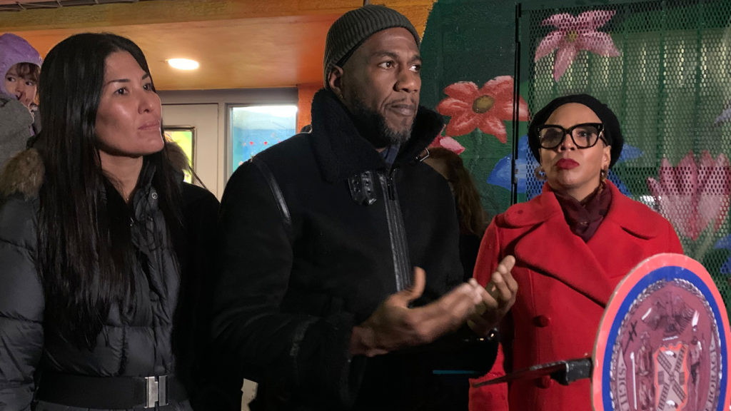 Bed-Stuy resident Keiko Niccolini, Public Advocate Jumaane Williams and Councilwoman Laurie Cumbo speak outside the BRC shelter at 85 Lexington Ave.