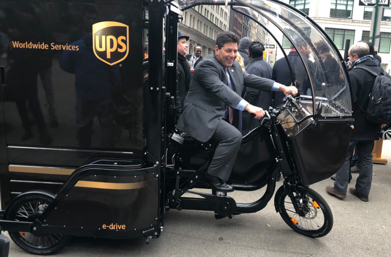 UPS Operations Vice President Leo Cummings on a pedal-assist delivery trike at a joint presentation with the city on the Commercial Cargo Bike Program on Dec. 4, 2019 in the Flatiron District.