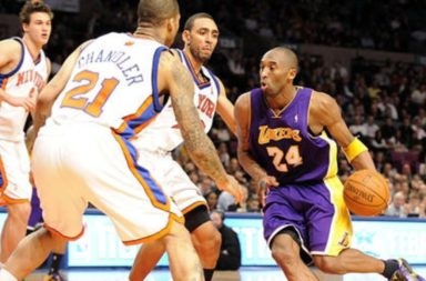 Kobe Bryant drives against the Knicks at Madison Square Garden.