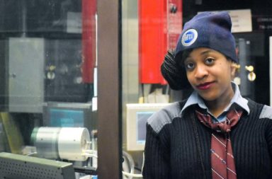 "Alexis Simone Webster works in booths in different subway stations. She calls the glass her ""only protection."""