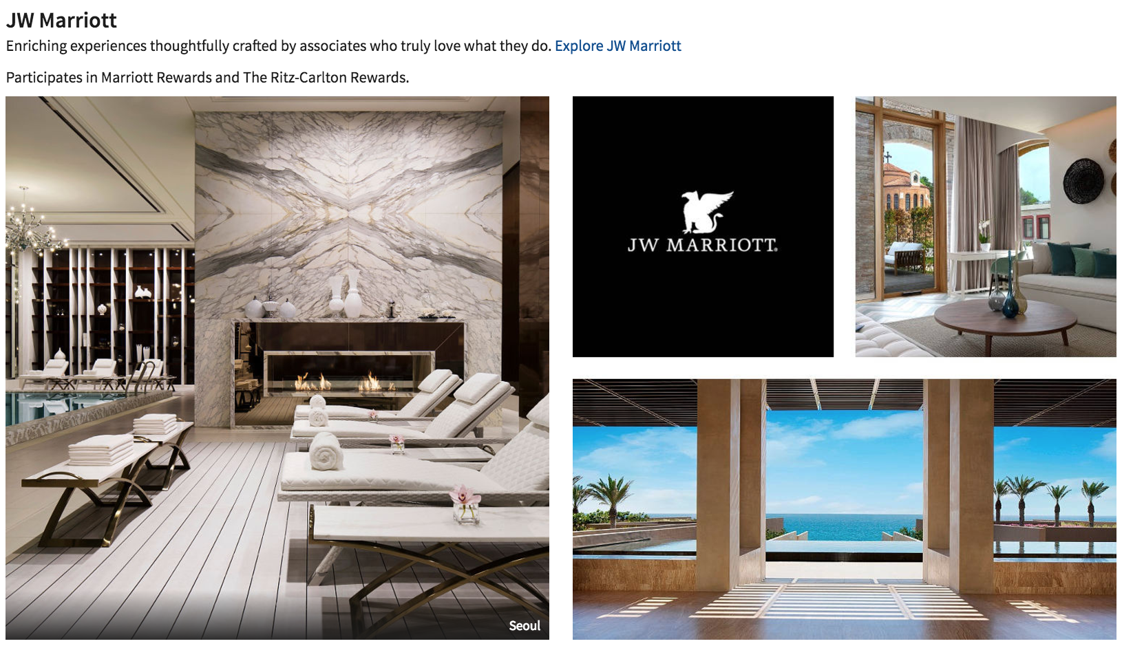 JW Marriott hotels are a part of Marriott's luxury collection of hotels.